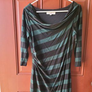 Loft Striped Cowl Neck Dress